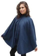 Alpaca Wool Cloak Wrap Cape Poncho, Steel Blue