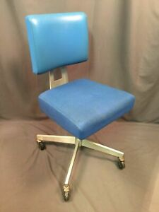 General FireProofing Co Vintage Good Form Blue Aluminum Office Chair Made In USA
