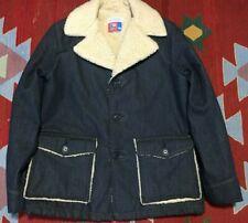 Vintage Sears Sherpa Lined Denim Coat Jacket Put On Shop Size 38 Indigo