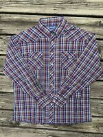 Vintage Wrangler Western Shirt snaps Long Sleeve Red White Blue Mens Size XL