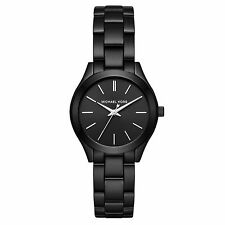 NWT MICHAEL KORS MINI SLIM RUNWAY BLACK STAINLESS STEEL WATCH MK3587