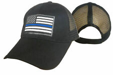 MESH Support TBL Police Sheriff THIN BLUE LINE USA Flag Patch Baseball Hat Cap