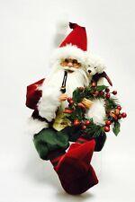 "Seasons Designs Santa Claus Christmas sitting red 42184 18"" elf shoes wreath"
