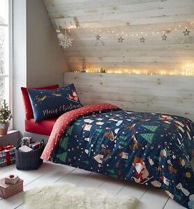 Santa's Wonderland Christmas Duvet Cover Set Glow in Dark by Catherine Lansfield