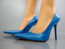 MADE IN ITALY LUXUS HIGH HEELS POINTY PUMPS SCHUHE LEATHER DECOLTE BLUE BLU 43