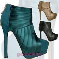 Stivaletti scarpe donna tronchetti raso scamosciati tacchi alti stivali AA-112