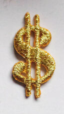 """Iron On Patch Applique - Metallic Gold Dollar Sign SMALL 1""""x7/16"""""""