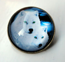 ZP420b Unusual Domed Snow Wolf Pin Badge Brooch Cabochon wolfpack