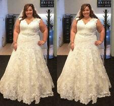 Plus Size Wedding Dresses V Neck Lace Appliques Sleeveless Bridal Gown Custom