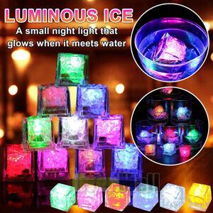 40Pcs Rainbow Flash Color Light Up Party Rave Wedding LED Glow Ice Cube Auto On