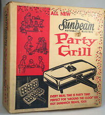 Vintage Sunbeam Party Grill / Panini Maker, Model 870 Electric Grill Orig BOX