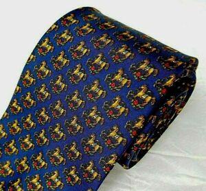 SALVATORE FERRAGAMO Italy Silk Tie Necktie Blue Tiny Horse Pony Equestrian Print