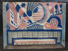 ANTIQUE AMERICAN CUBIST CITYSCAPE ARCHITECTURE FLAG AUTO CHICAGO DECO WPA ERA