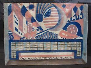 ANTIQUE AMERICAN CUBIST CITYSCAPE ARCHITECTURE FLAG AUTO CHICAGO DECO WPA ERA