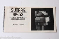 Sunpak Auto AP-52 Flash Instruction Manual Book - English - USED B55 AC