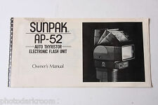 Sunpak Auto AP-52 Flash Instruction Manual Book - English - USED B55 AC