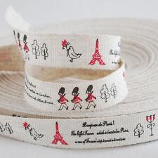 Cotton Linen Fabric Ribbon Sewing Label - London Paris