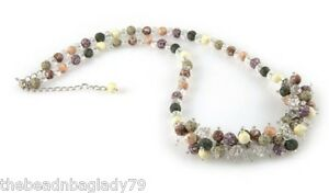 Viva Beads Handmade Clay Beads NEW HARVEST Tan Brown Cream Crystal Rope Necklace