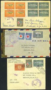 HONDURAS  1940's THREE COVERS 1 CENSORED ALL TO U.S.
