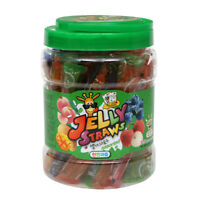 KIDSWELL JELLY STRAWS Assorted 800g Plastic Bottle Pack 4Flavor Natural Fruit