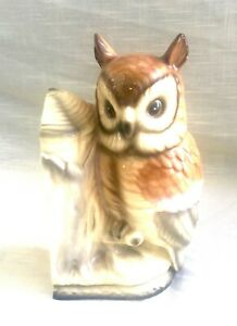 Single Vintage Ceramic Owl with Tree Stump Bookend, Weighted