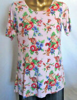Linea Louis Dell'Olio PINK FLORAL Sh/Slv Knit Tunic Top Blouse  XL NWOT A290933
