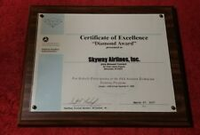 """Skyway Ailines, Inc.- FAA Mounted Certificate of Excellence- """"Diamond Award"""""""
