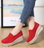 Women's Wedge Breathable Platform Creepers Slip On Suede Loafers Casual * ll