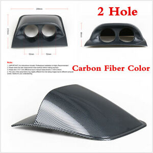 52mm Car 2 Hole Dashboard Mount Holder Dual Gauge Meter Pod Carbon Fiber Color