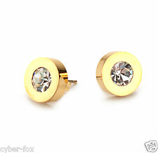 18K Gold Plated Classic Round Diamond Stainless Steel Women's Stud Earrings Gift