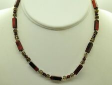 """STERLING SILVER 17"""" MULTI-SIZE TIGER'S EYE STONES W/ETCHED BEADS NECKLACE#FMX535"""