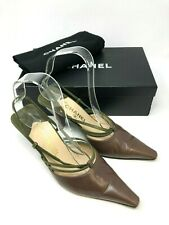 Chanel Ladies Leather Shoes Heels Size 3 UK Vintage Brown and Green Slingbacks