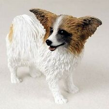 Papillon Dog Hand Painted Figurine Resin Statue Brown & White Puppy animal New