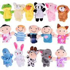 ThinkMax 16 Pack Soft Plush Finger Puppets Set - MANSA 10 Animals + 6 People Fam