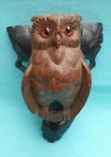 More details for stunning old black forest owl wall hanging figure finely detailed with glass eye