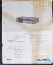 Sony TC-FX3 cassette deck service repair workshop manual (original copy)