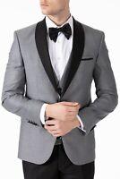 Jack Martin - Grey Dinner Jacket / Tuxedo Suit with Black Satin Shawl Lapel