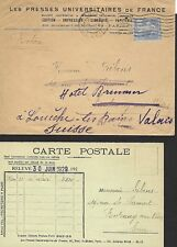 FRANCE 1929 COVER WITH POST CARD INSERT FROM PARIS TO SWITZERLAND #500
