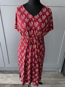 Seasalt Field Poppy Dress Red Floral Jersey Tie Waist Size 14