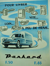 catalogue depliant panhard F 50 F 65 1960 pick up fourgonette tolée bachée