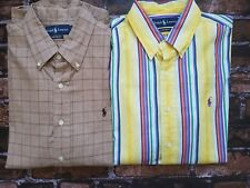 Lot of 2 Ralph Lauren Polo Custom Fit Long Sleeve Button Downs Size L