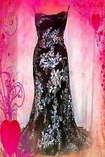 MONSOON**  STUNNING RARE ACUPULCO BLACK DEVORE SILK BEADED MAXI  DRESS  UK 14