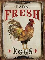 "Farm Fresh Organic Eggs Retro Vintage Tin Bar Sign Country Home Decor 10"" x 13"""