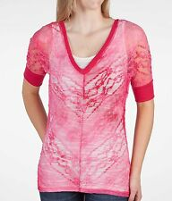 Top BKE Lace Top Pink SZ Medium   From The Buckle New NWT