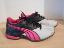 Girls PUMA Tennis Shoes U.S. Size 3 Pink Black & Gray EUC