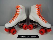 Vtg ROLLER DERBY Roller Star Quad SKATES White w/ Orange Wheels & Laces Womens 7