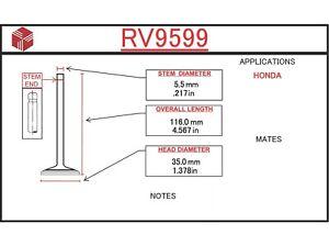 Engine Intake Valve ITM RV9599