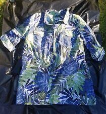 Women's CARIBBEAN JOE plus size 2X floral hawaiian button front shirt blouse #9