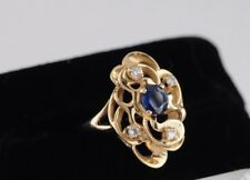 14k Yellow Gold Blue Sapphire with Diamond accent ring size 6.5