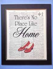 Wizard Oz There's No Place Like Home Gift Idea Antique Dictionary Page Art # 10